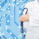 Doctor with stethoscope in hand and blue circuit on background