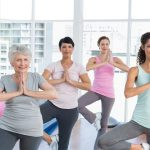 group of middle aged women in exercise class