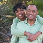 middle aged african american couple outside